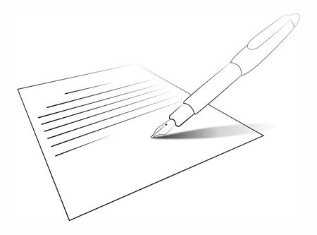 signing papers: Composition with letter and pen  Writing