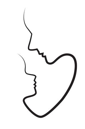 Silhouetten van de gezichten van moeder en kind op een witte