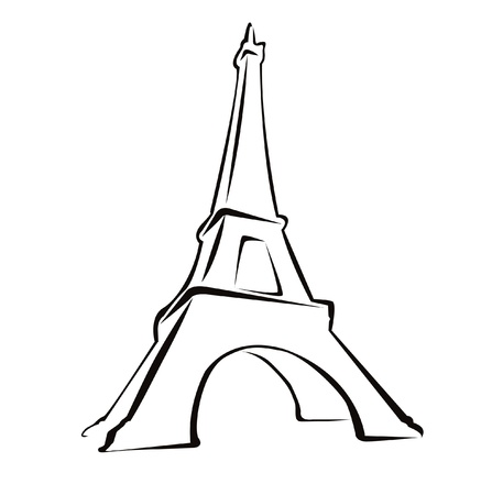 Silhouet van Eiffle Tower op wit wordt geïsoleerd Stock Illustratie