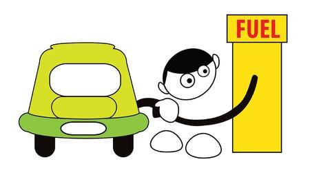 Funny cartoon boy fillin petrol isolated on white Illustration