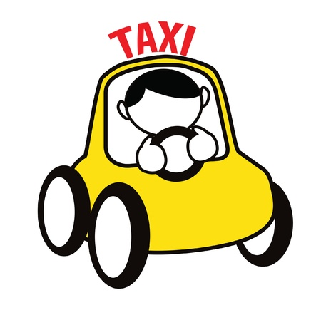 fast driving: Funny cartoon boy driving cab isolated on white