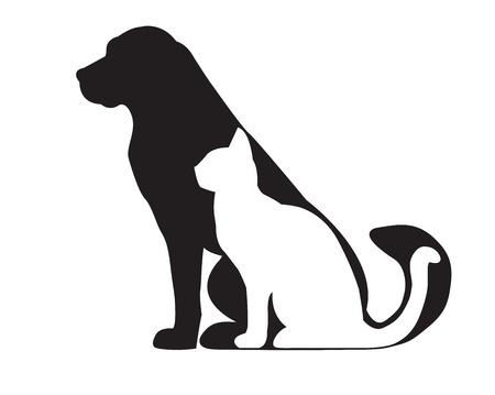 Silhouet van zwarte hond en witte kat op wit wordt geïsoleerd