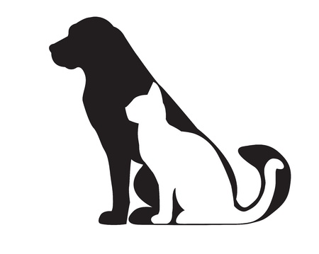 Sylwetka czarnego psa i kota białego na białym tle