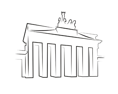 Silhouette fo Brandenburg Gate in Berlin isolated on white