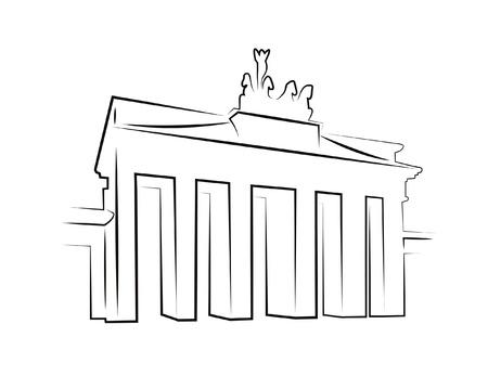 Silhouette FO Brandenburger Tor in Berlijn op wit wordt geïsoleerd