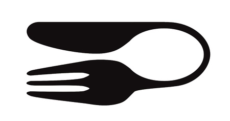 Composition of silhouettes of fork knife and spoon isolated on white Vector