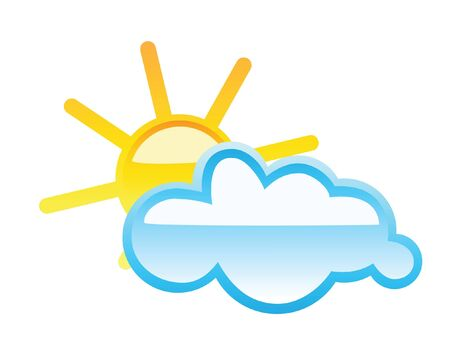 humid: Weather glass button sunny with clouds isolated on white
