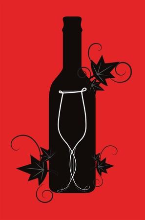 Wijn fles en glas met bloemen decoratieve elementen