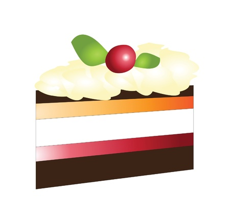 cake slice: Piece of cake isolated on white - vector Illustration