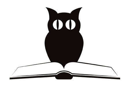 """Image of owl and book """",symbol of wisdom & quot, isolated on white - vector"""