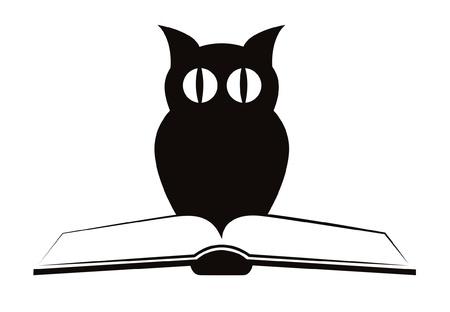 """Afbeelding van uil en boek """", symbool van wijsheid & quot, geïsoleerd op wit - vector"""