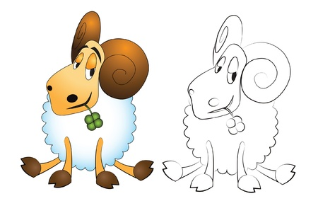 Cartoon ram with clover isolated on white - vector