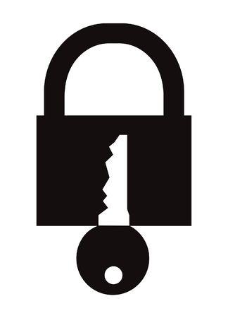 Padlock symbol isolated on white