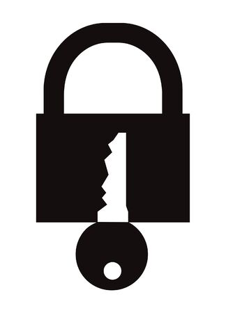 Padlock symbol isolated on white
