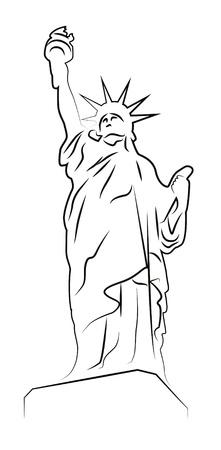Statue of Liberty tekening op wit wordt geïsoleerd Stock Illustratie