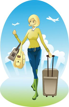 Portrait of a travelling woman heading to the airport Vector