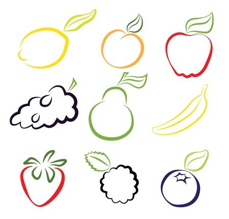Diverse vruchten geïsoleerd op wit Stock Illustratie