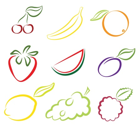 Assorted fruits isolated on white Stock Vector - 17177578