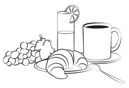 Breakfast composition isolated on white Vector