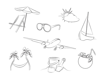 sun tanning: Vacation icons set isolated on white