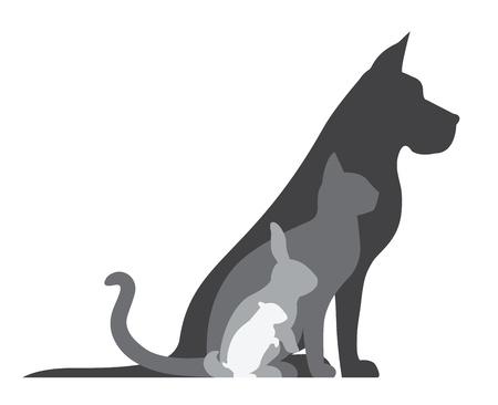 silueta de gato: Animal Silhouettes Composición Vectores