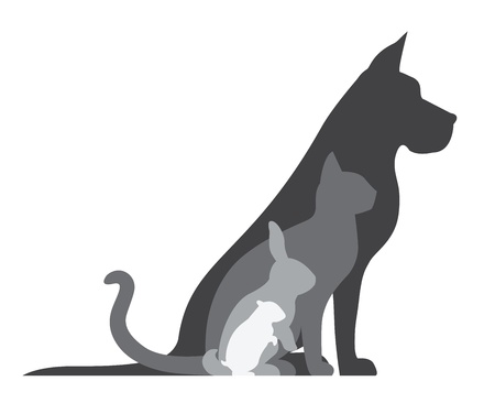 child and dog: Animal Silhouettes Composition Illustration