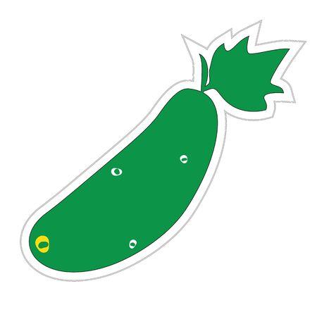 Cartoon Cucumber Sticker Stock Vector - 18494232