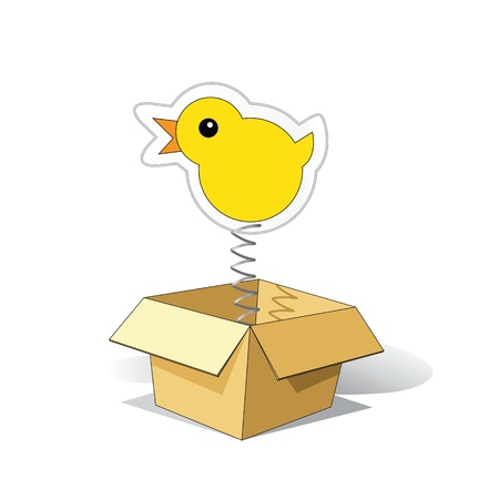 surprise box: Cartoon Chicken Sticker Jumping out of the Box Illustration