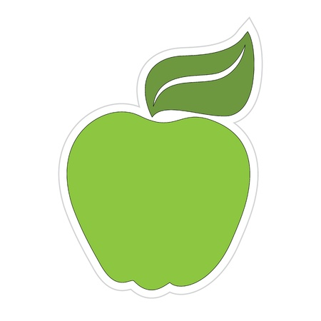 Cartoon Green Apple Sticker Stock Vector - 18543631