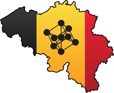 Belgian Flag Country Silhouette and Symbol Combination Illustration