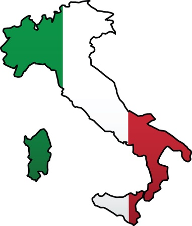 Italian Flag and Country Silhouette Combination Vector