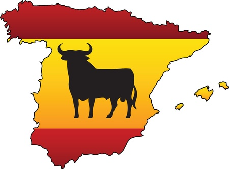 spanish bull: Spanish Flag Country Silhouette and Symbol Combination Illustration