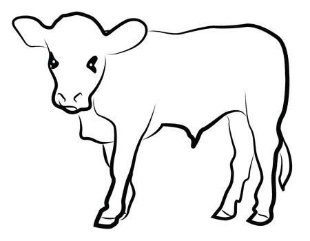 Kalf silhouet geïsoleerd op wit Stock Illustratie