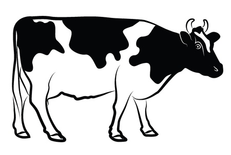 Koe silhouet ge Stock Illustratie
