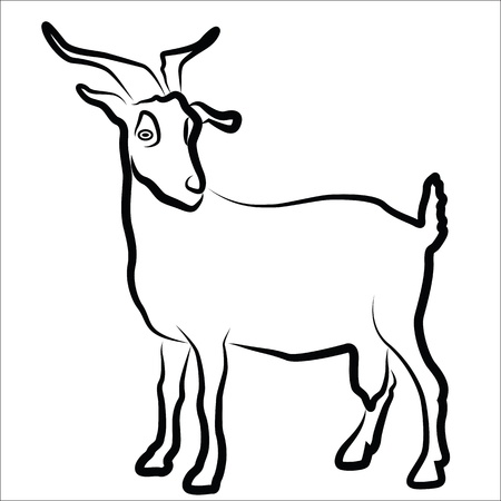 Goat silhouette isolated on white  イラスト・ベクター素材