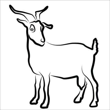 Geit silhouet geïsoleerd op wit Stock Illustratie