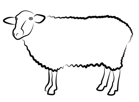 ewe: Sheep silhouette isolated on white