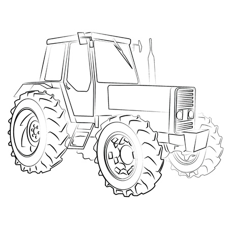 black and white farm: Tractor isolated on white Illustration