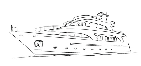 luxury yacht: Yacht isolated on white