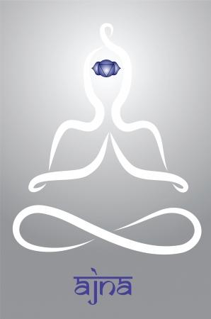 anahata: Simbolico yogi con la rappresentazione chakra Ajna Vettoriali