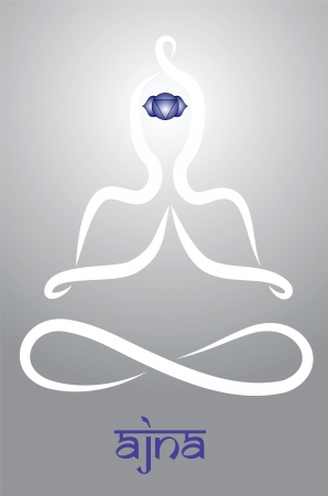 chakra energy: Symbolic yogi with Ajna chakra representation Illustration