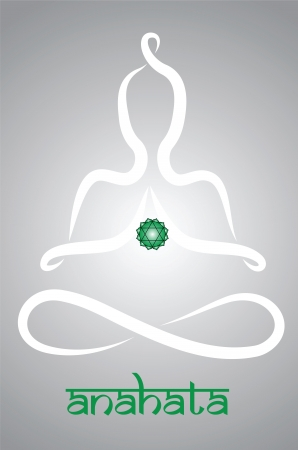 anahata: Symbolic yogi with Anahata chakra representation Illustration