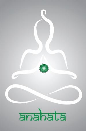 Symbolische yogi met Anahata chakra vertegenwoordiging