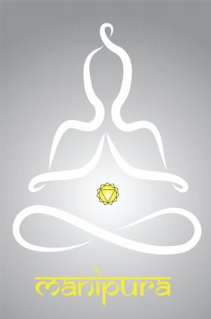indian yoga: Simbolico yogi con la rappresentazione chakra Manipura