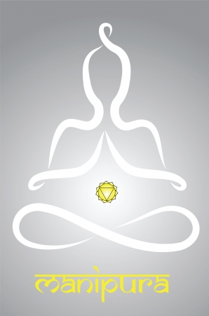 meditation man: Symbolic yogi with Manipura chakra representation