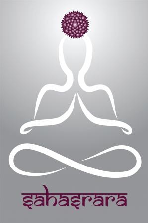sahasrara: Symbolic yogi with Sahasrara chakra representation