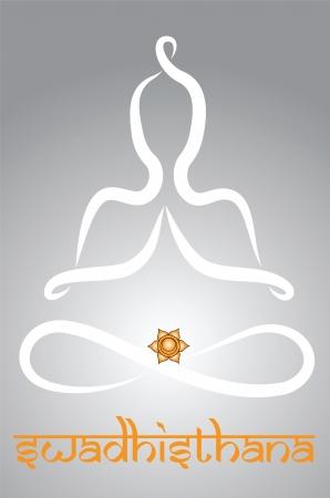 indian yoga: Simbolico yogi con la rappresentazione chakra Swadhistana