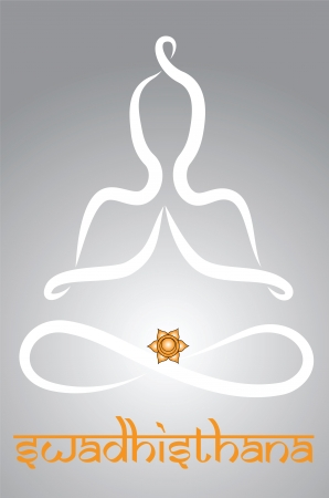 energy healing: Symbolic yogi with Swadhisthana chakra representation Illustration