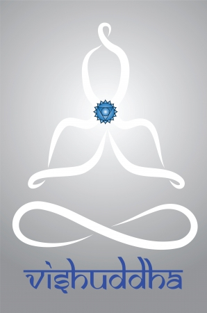 vishuddha: Symbolic yogi with Vishuddha chakra representation Illustration