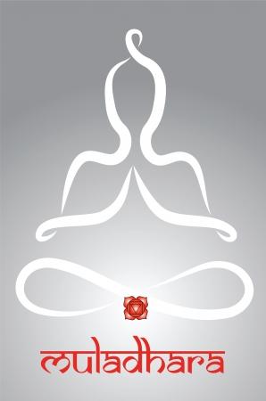 Symbolische yogi met Muladhara chakra vertegenwoordiging